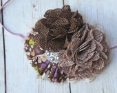 All The Leaves are Brown- lavender brown and purple burlap and ruffle heabdand with lace