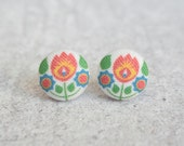 Bohemian Fabric Button Earrings