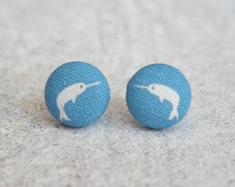 Narwhal Fabric Button Earrings