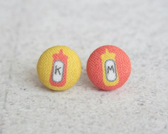 Ketchup and Mustard Fabric Button Earrings