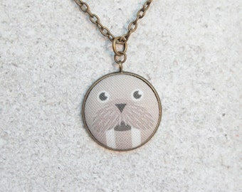 Walrus, Fabric Button Pendant Necklace