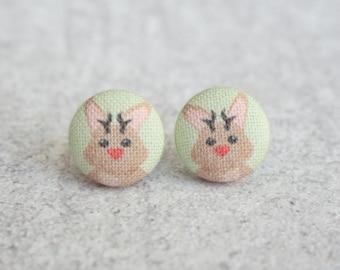Jackalope Fabric Button Earrings