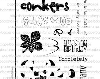 Completely Conkers Stamp Set - Paperbabe Stamps - Clear Photopolymer Stamps - For paper crafting and scrapbooking.