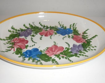 made in italy  floral porcelain oval tray  bowl  serving plater