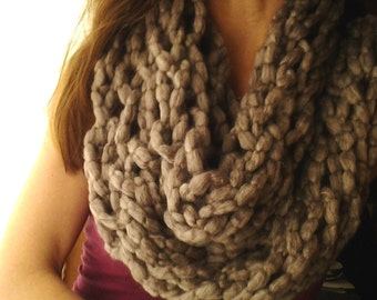 Hand Knit Cowl in Tan