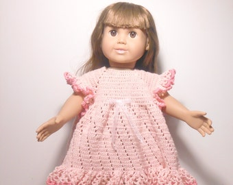 18 Inch Doll Dress,  Doll Dress,  Hand Crocheted Pink Dress for 18 Inch Doll, Pink Crocheted Dress, Pink Dress