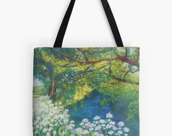 "Summer River Landscape Scenery Tote Bag - Artist's Pastel Painting Design. Two Sizes Available Medium 16"" and Large 18"""