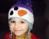 Snowman Earflap Crochet Beanie