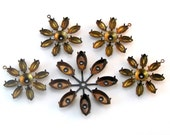 Brass Flower Settings, Multi Stone Spoke Setting, 15 x 7mm setting