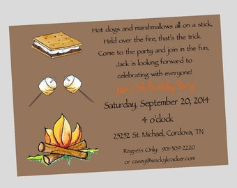 Campfire Smore Marshmallow Birthday Party Invitations Printable Digital File