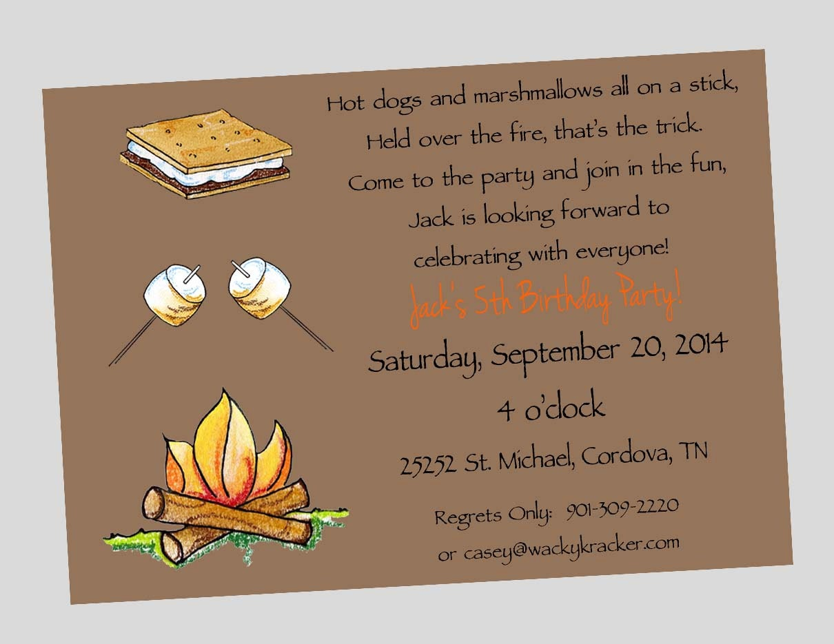Campfire S'more Marshmallow Birthday Party Invitations
