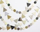glitter and metallic circle or triangle garland