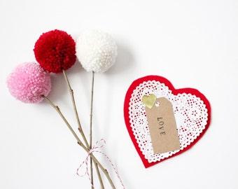 valentines day yarn pom pom bouquet- READY TO SHIP
