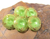 VINTAGE Green Moonglow Glass BUTTONS Five (5) Moonglow Gold Luster Green Glass Buttons Vintage Wedding Jewelry Sewing Supplies (N302)