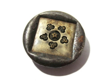 Victorian Celluloid Button Antique Celluloid and Metal One (1) Celluloid Metal Star Design Two Piece Sewing Jewelry Wedding Supplies (T25)