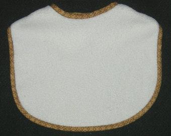 Quality Infant Velcro Embroidery Blank Bib with Tan/Brown Binding  / 1 Embroidery Blank Bib