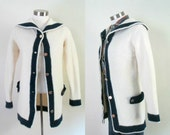 Vintage Sailor Style Sweater / Shawl Collar Button Front / Blue & White Nautical Long Cardigan