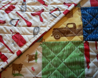 Farm Table Topper Quilt Wall Hanging Dairy Quilted Milk Cows Kitchen Utensils Farm Truck Quiltsy Handmade FREE U.S. Shipping