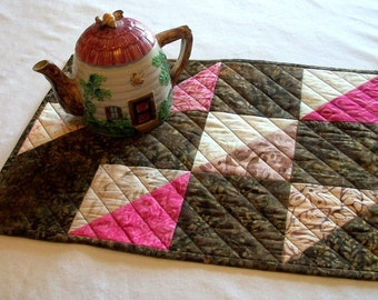 Batik Table Topper Pink Brown Triangles Quilted Squares Mocha Kiss Quiltsy Handmade FREE U.S. Shipping