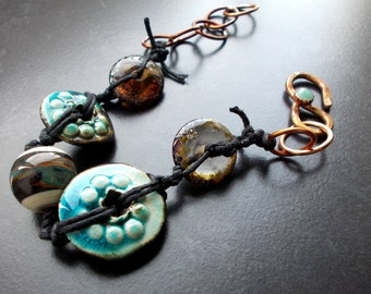 Reduced Price - Primitive Bracelet,The Blue Abyss,Tribal bracelet, Rustic, Sea Green foam, Adventurine, Amber Lampwork, Relic, Atlantis