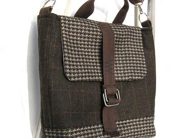 50% OFF! Messenger Bag, Travel Bag, Satchel, Macbook, Laptop, Dark Brown, Brown plaid, Suit Coat Bag, Wool messenger bag, Phelps Mtn