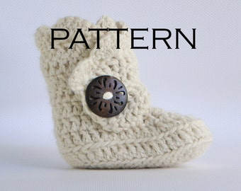 Scallop Edge Baby Boot Crochet Pattern - PDF