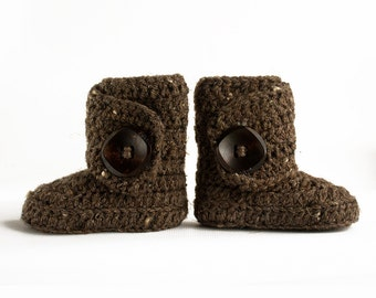 Brown Speckled Crochet Wrap Boots- Choose Your Size