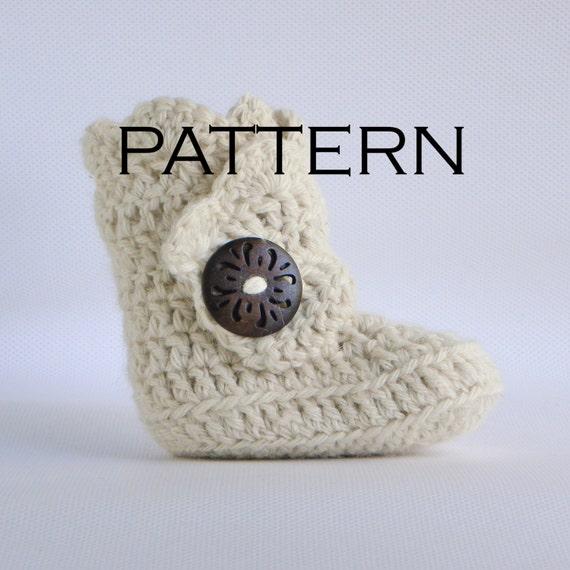 Scallop Edge Baby Boot Crochet Pattern - PDF