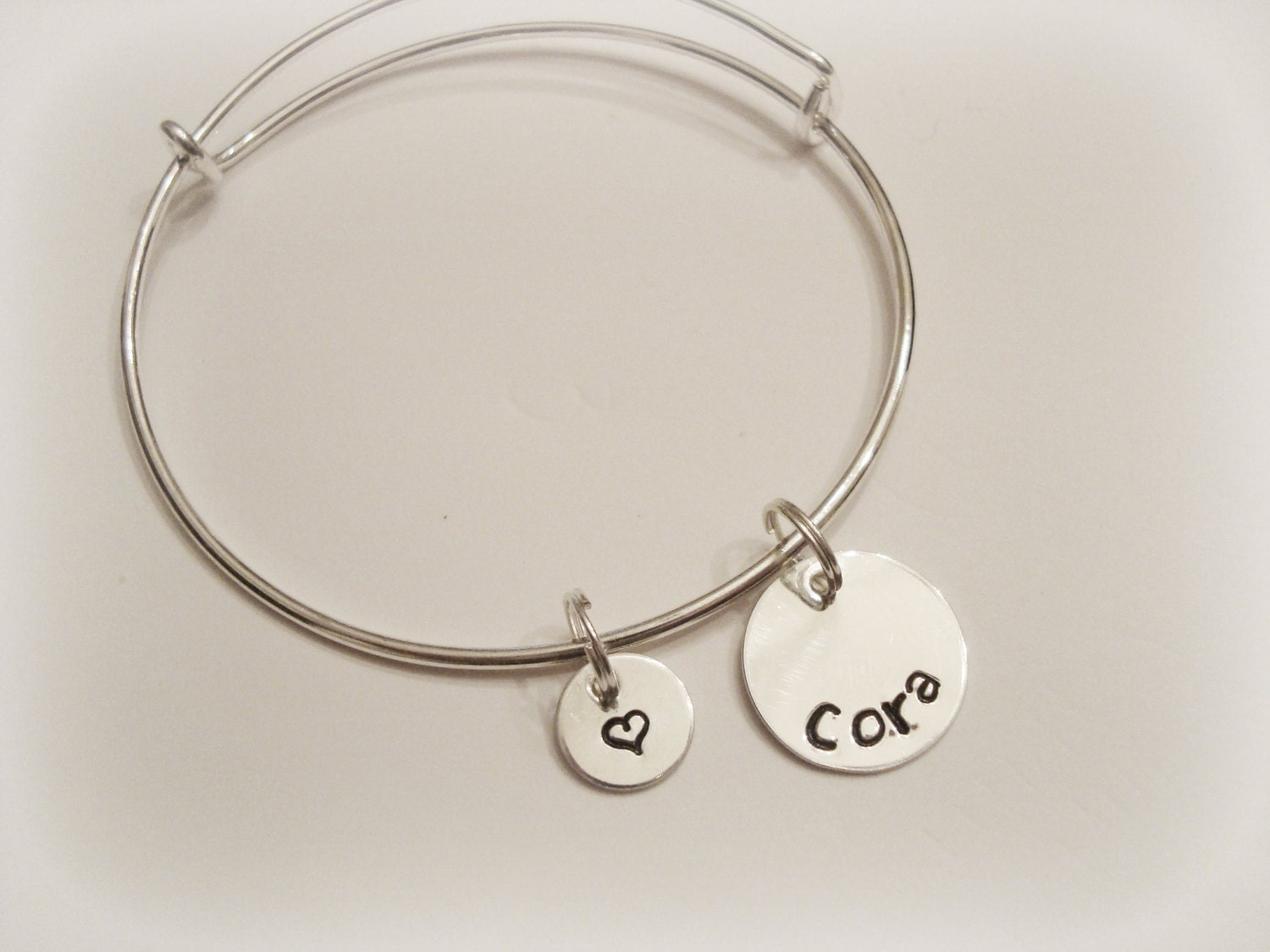 Two Sterling Silver Discs on Silver Plated Adjustable Bangle Bracelet