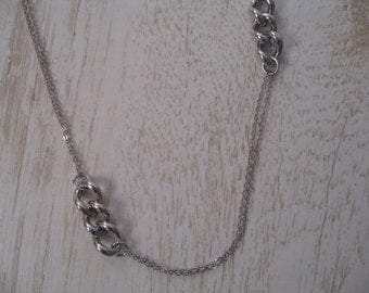 Long Silver Chain Necklace, Minimalist Necklace, 30 inch Long Sterling Silver Chain Necklace, Fine Cable and Bold Curb Links