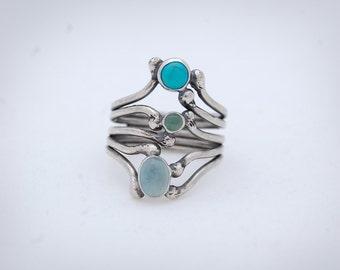 Carnivorous Plant Series: WATER - Sterling Silver, Turquoise, Aventurine, Aquamarine Ring