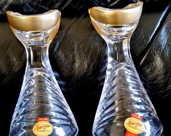 Vintage Anna Hutte Bleikristall Candle Holders