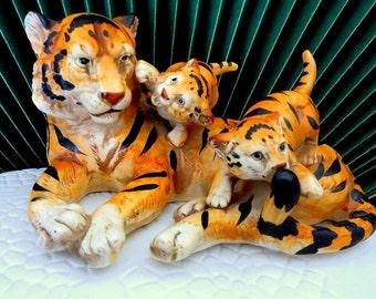 Vintage Bengal Tiger Mother with Cubs Wildlife Figurine