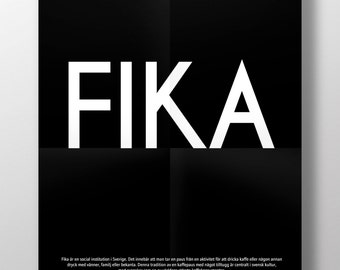 Swedish or English  FIKA -  luxury poster print. Large A2
