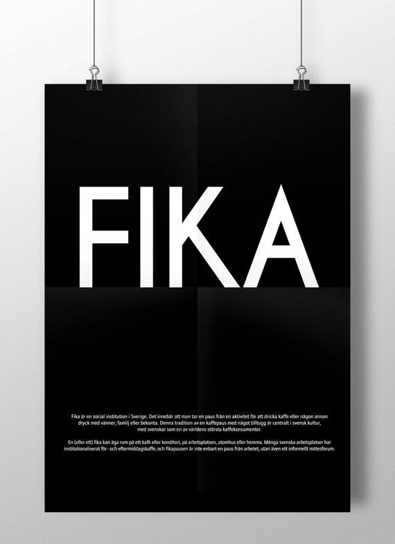 Swedish or English  FIKA -  luxury poster print. Large A2