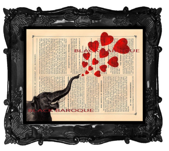 Elephant with hearts Valentine's Day art print - Elephant hearts art - elephant heart poster art on antique book page dictionary music page