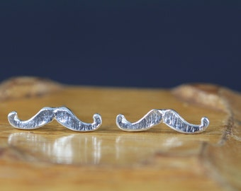 Sale Mustache Stud Earrings - 925 Sterling Silver Mustache Earrings - Moustache Studs - Stocking Stuffer