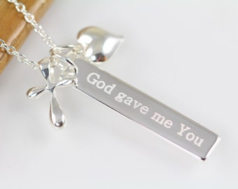 God Gave Me You Cross Pendant Necklace, Personalized Cross Necklace Gift Word Art Jewelry, 925 Sterling Silver