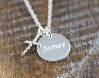Boy Baptism Gift Cross Necklace / Baptism Name Necklace for Boys / Personalized Jewelry N023