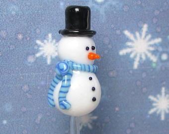 Top Hat Frosty Snowman bead handmade lampwork glass Christmas bead, Made To Order Christmas Bead