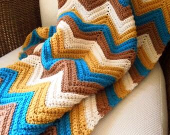 Vintage Hand Knit Chevron Throw, Blue, Brown, Mustard Afghan, ON SALE