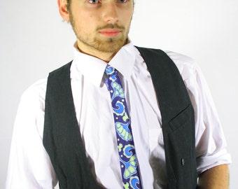 Navy tie skinny blue . OOAK men's skinny tie . Groom . Navy wedding