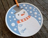 Letterpress Gift Tags Frosty the Snowman Set of 4, Wintertime Celebration Present Gift Tags, Christmas Holiday Gift Tie Label, Kids Gift Tag