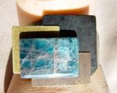 Apatite Stone and Mixed Metals Cuff Bracelet - Modern Geometric Design - SteamPunk by ItsaWonderfulWall