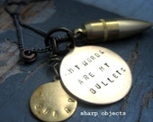 Words Are My Bullets - mens solid brass bullet, stamped metalwork tag & motivational charm sealed link gunmetal chain NECKLACE