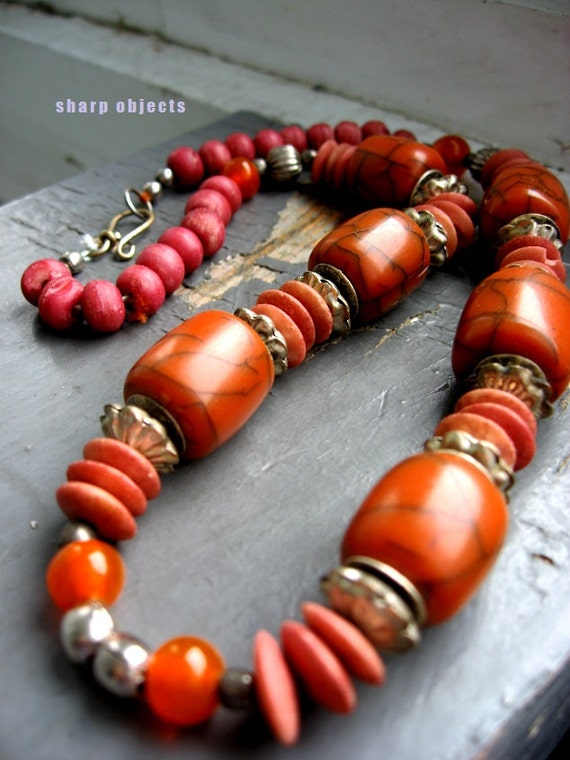 SANDFIRE - handmade tribal chunky statement beaded necklace, silver, handmade ceramic orange, persimmon shades with sterling silver clasp