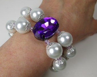 Chunky White Pearl Bracelet Magenta Purple Glass Faceted Oval 2-Strand Bracelet Violet Swarovski Crystals