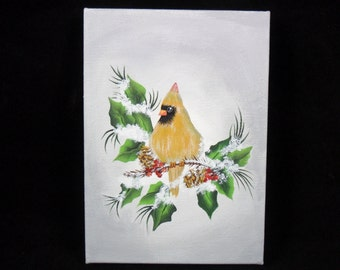 "Cardinal Canvas Painting Original Acrylic 5"" x 7"" Hand Painted Unframed"