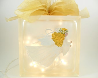 """Lighted Glass Block Angel 8"""" x8"""" x3"""" Hand Painted"""
