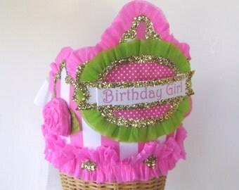 Birhday party hat, birthday party crown, pink stripe birthday hat, girls birthday hat